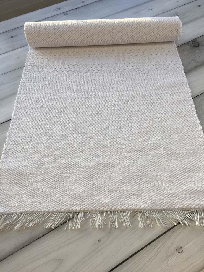 Runner rug, scandinavian cotton  throw rug, small nursery chindi carpet, modern