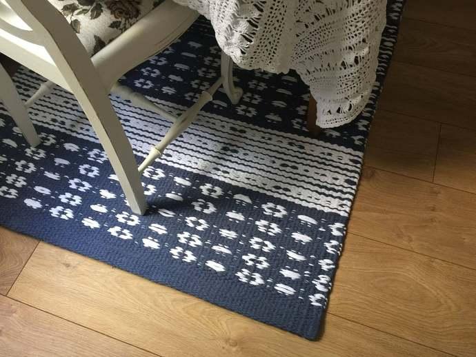 Blue white rug, Scandinavian rug,  custom size rugs, kitchen rug runner,