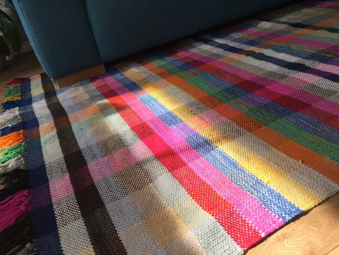 Scandinavian rug, wool retro design rug, handwoven plaid rug, flat weave rug,