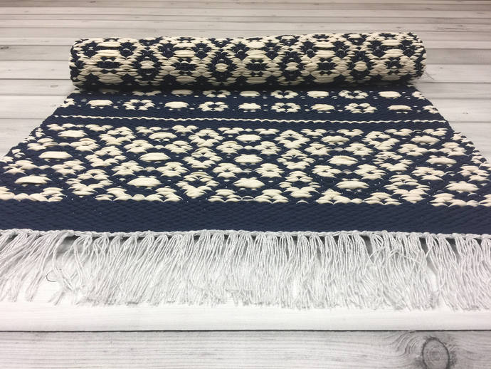 Scandinavian rug, Blue White rugs, runner rugs, floor rug, kitchen rugs, accent