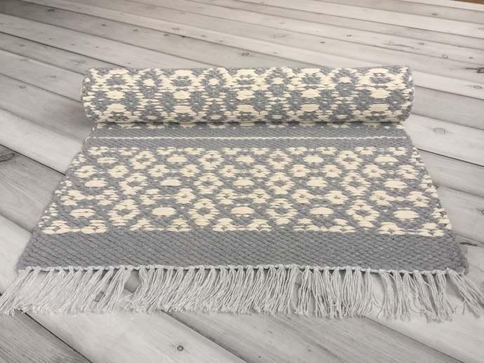Washable cotton runner rug, Gray and white floor rug, Scandinavian modern rag