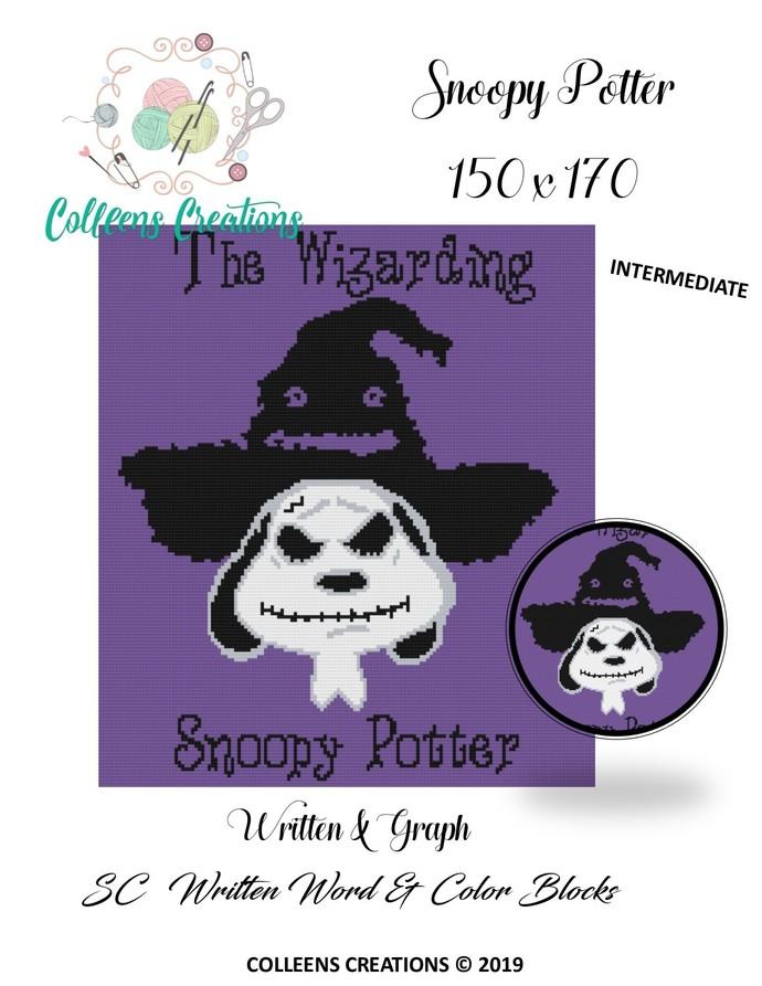 Snoopy Potter Crochet Written Word, Graph and Blocks Design