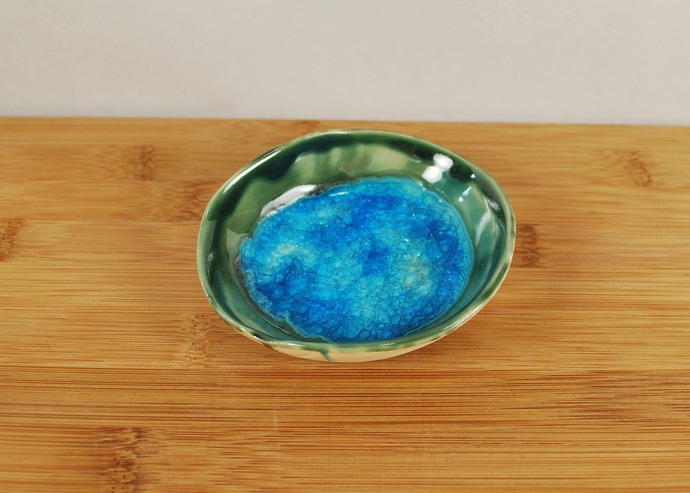 Handmade Ceramic Catch All Ring Jewelry Dish in Bright Blue and Green