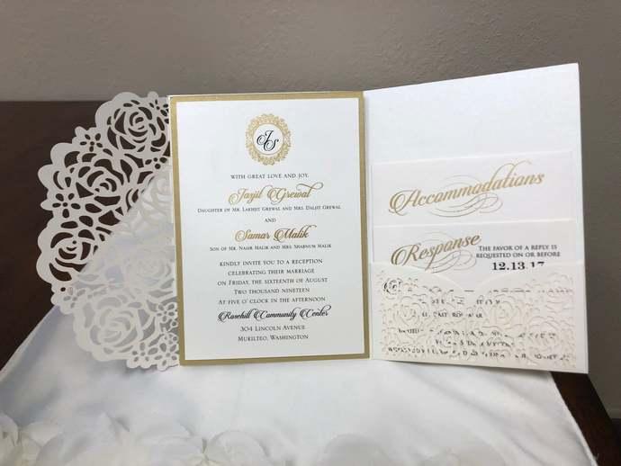 Gorgeous Ivory Shimmer Laser Cut Wedding Invitations Pocket Wedding Invitations