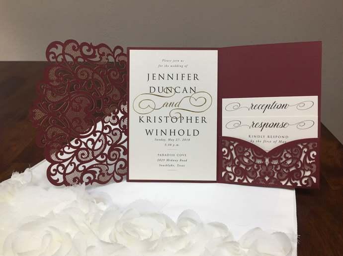 Laser Cut Wedding Invitations Marsala Burgundy Pocket Wedding Invitations Die