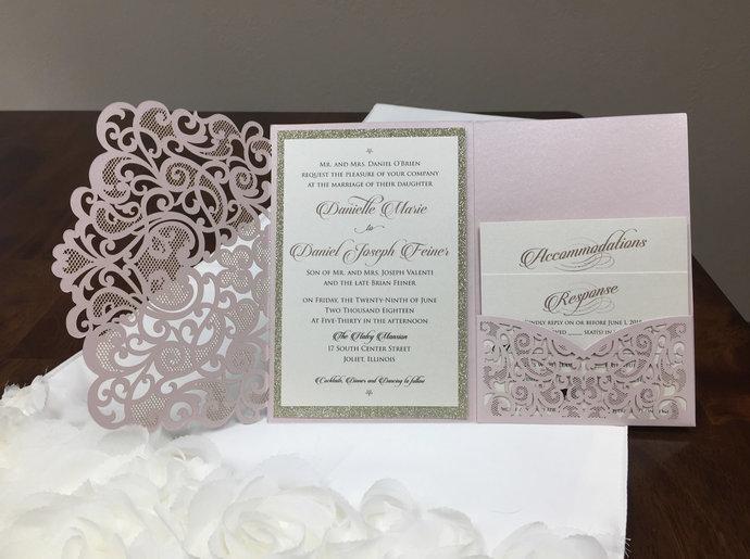 Blush Heart Laser Cut Wedding Invitations Pocket Wedding Invitations Heart Die