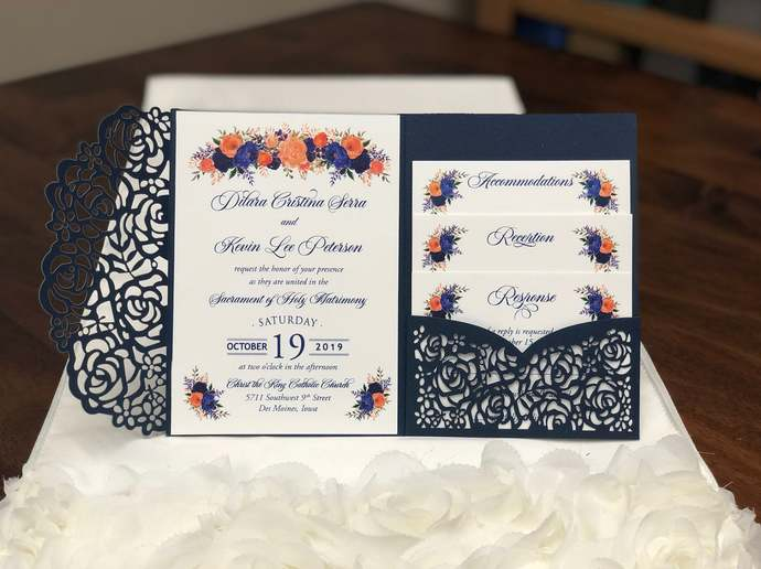 Gorgeous Glittering Navy Shimmer Laser Cut Wedding Invitations Pocket Wedding