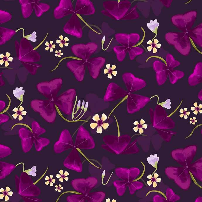 Amethyst Garden flowers in Dark Violet by Clothworks Fabrics - You choose the