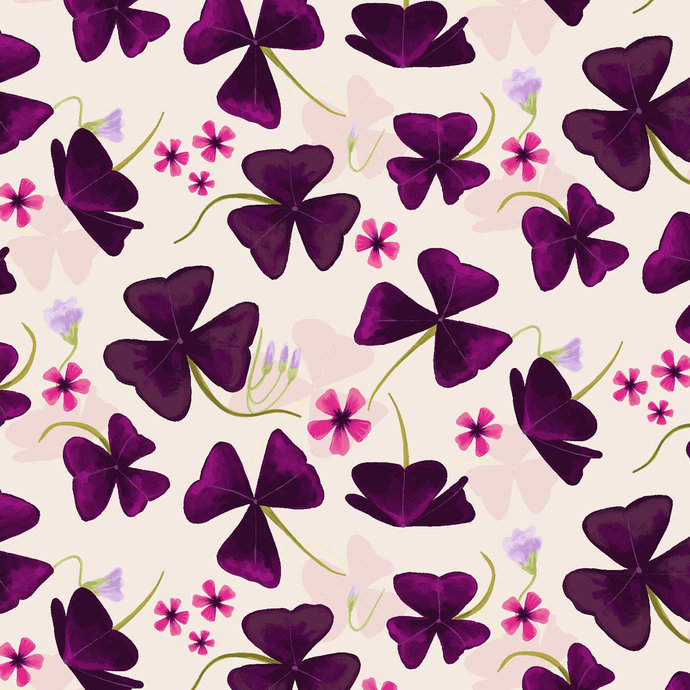 Amethyst Garden flowers in white  by Clothworks Fabrics - You choose the cut