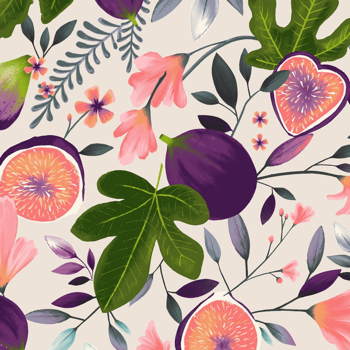 Amethyst Garden Main in white  by Clothworks Fabrics - You choose the cut