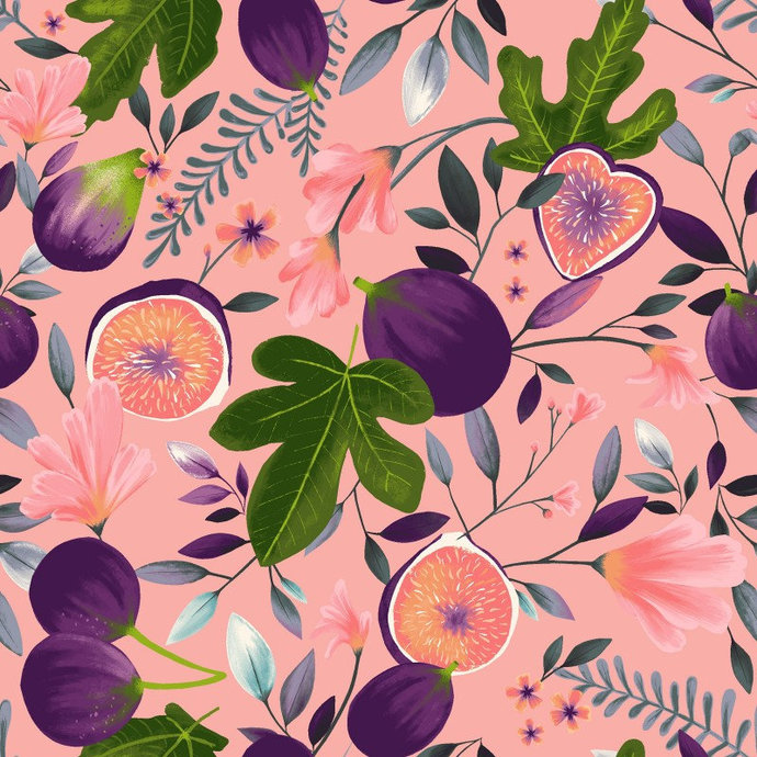 Amethyst Garden Main in Pink  by Clothworks Fabrics - You choose the cut