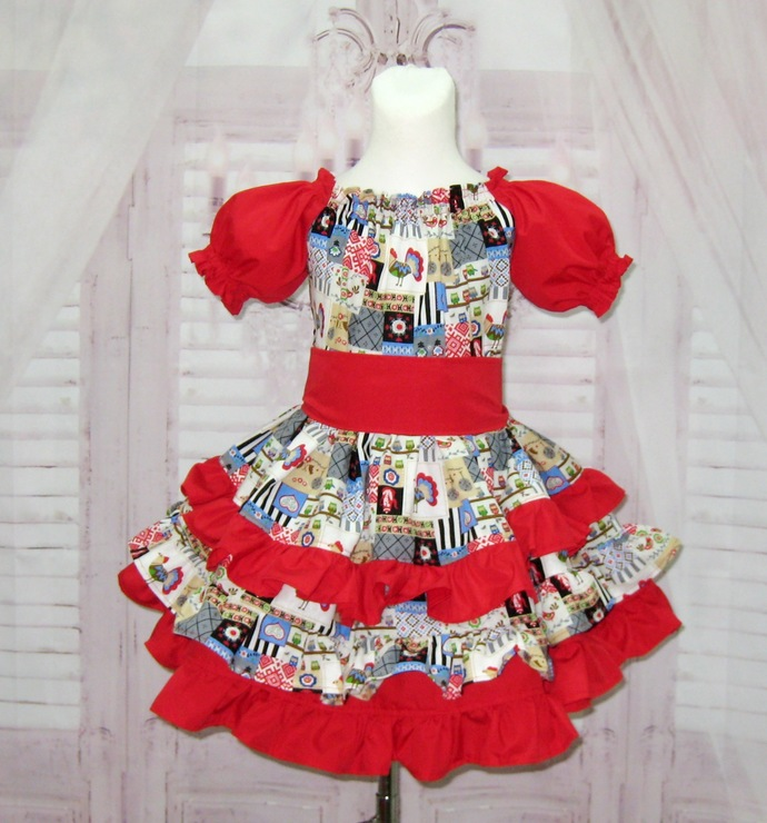 Country Style Ruffle Dress, Red and Blue Ruffle Dress, Girl Ruffle Dress, Girl