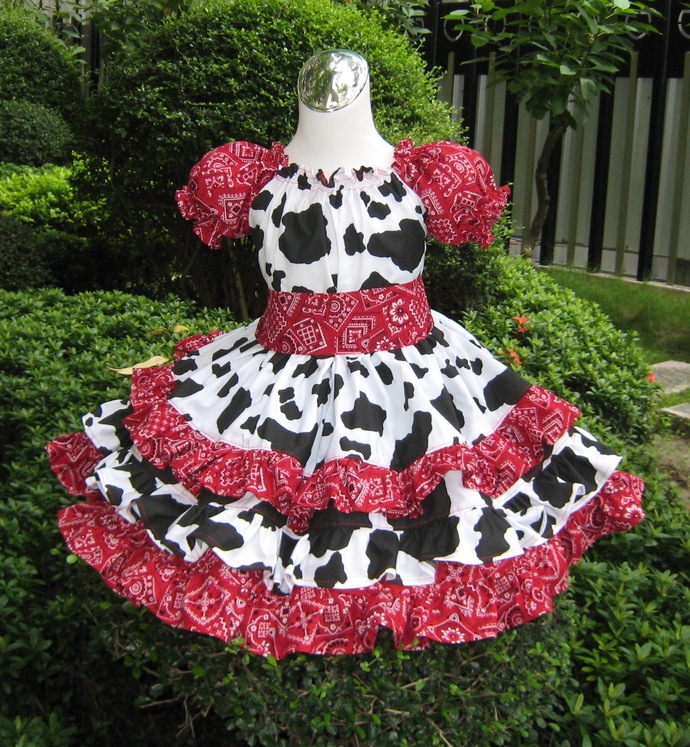 Cowgirl Dress, Triple Ruffle Cowgirl Red Bandana Peasant Dress , Black and White
