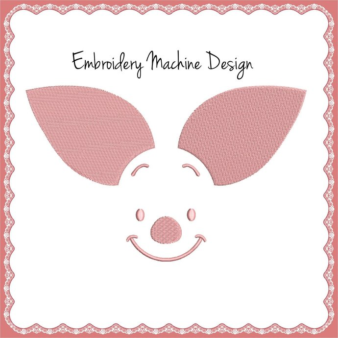 Piglet from Winnie the Pooh Face Embroidery Machine Design Disney Instant pes