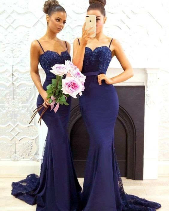 mermaid navy blue bridesmaid dresses long 2020 sexy lace appliqué beaded wedding