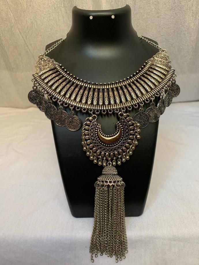 Jewellery indian necklace charm choker locket pendant oxidized metal alloy
