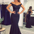 Navy Blue Mermaid Prom Dresses Off Shoulder Satin Sequined Beaded Lace Applique