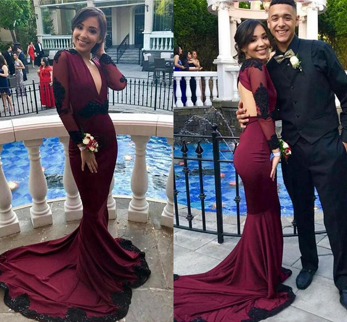 Sexy Burgundy Mermaid Prom Dresses Long V Neck Lace Applique Long Sleeves Floor