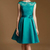 Elegant Real Picture Teal Green Lace and Satin Knee-Length Sheer Crew Cap Sleeve