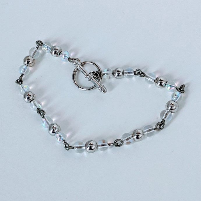 Handmade Silver and Iridescent Bracelet