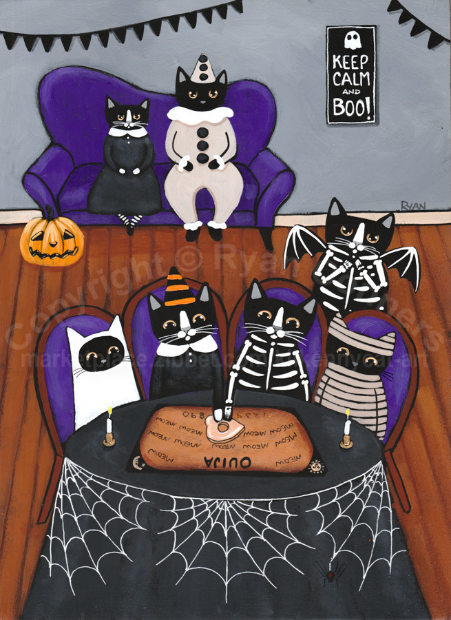The Halloween Party With Ouija Board Original Cat Folk Art Painting