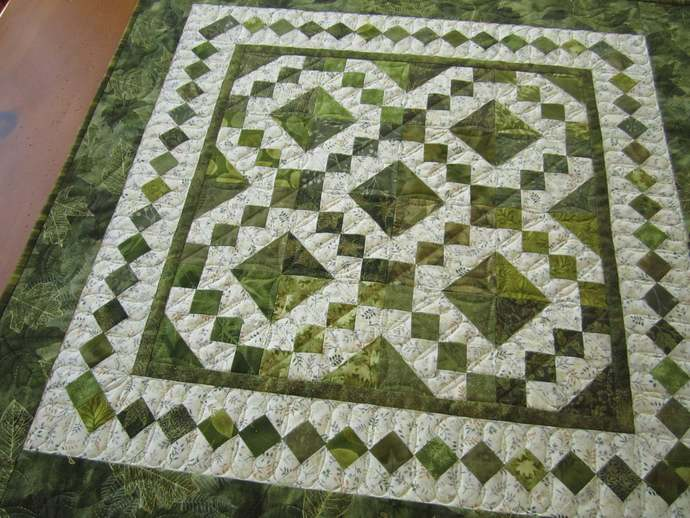 Table Topper Handmade Green Leaves Tabletop Quilted Square