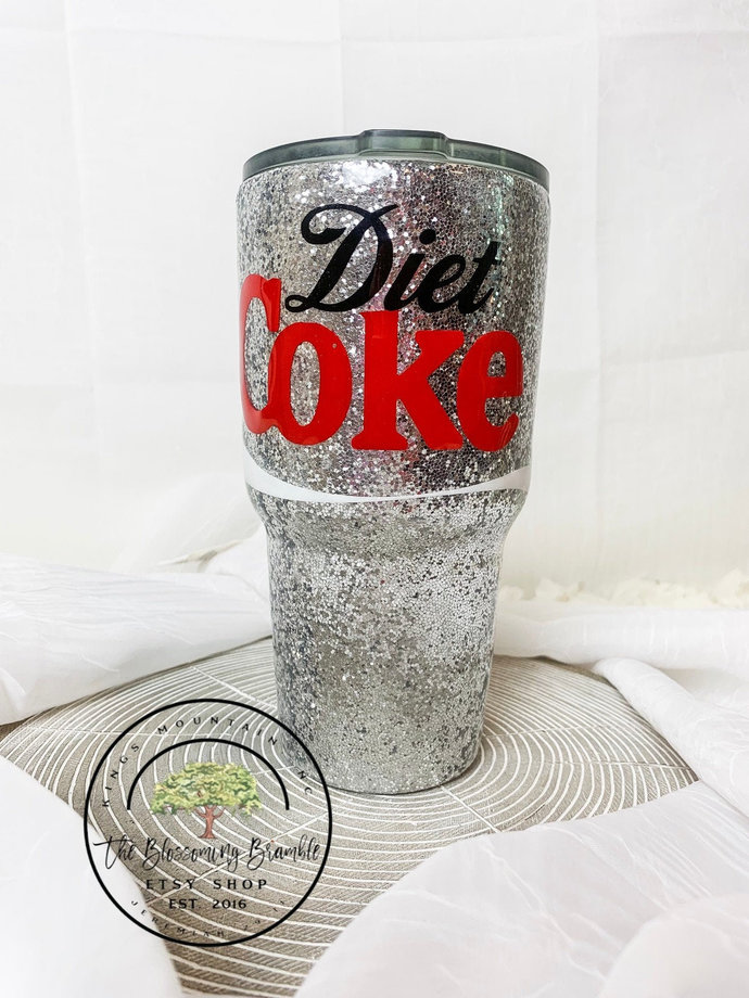 Diet Coke Glitter Tumbler custom glitter tumbler water bottle glitter water