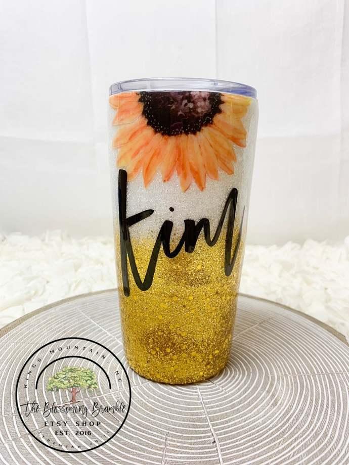 Sunflower Glitter Tumbler custom glitter tumbler water bottle glitter water