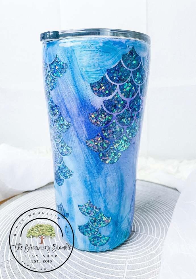 Mermaid Inspired Tumbler Mermaid scales glitter tumbler gift for her glitter