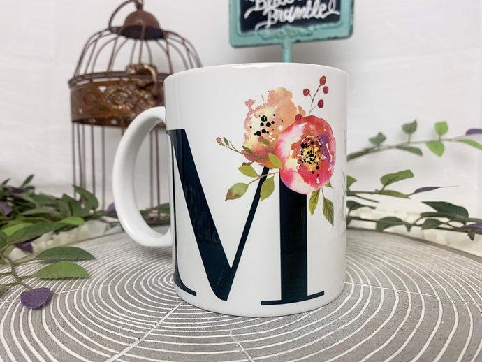Flower Monogram Coffee Mug Coffee mug for her monogram coffee mug with flowers