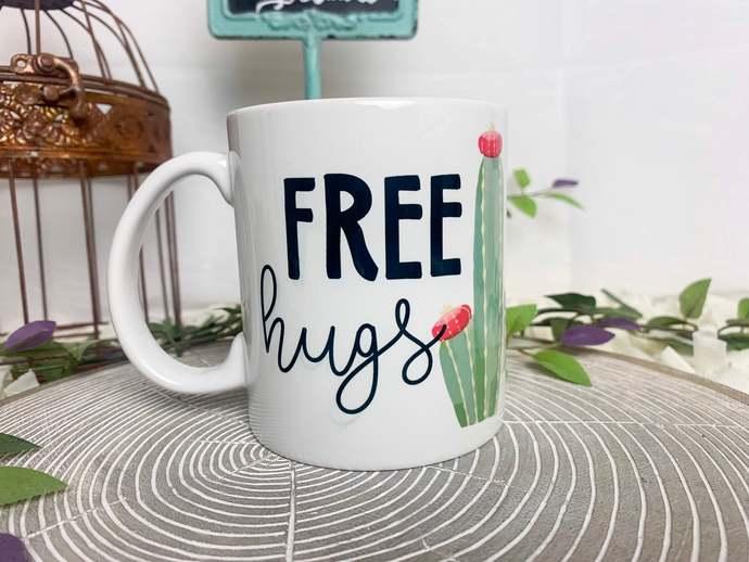 Free Hugs Cactus Coffee Mug Succulent coffee mug sarcastic coffee mug gift for