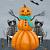Skellie Cats Make a Pumpkin Man Original Halloween Cat Folk Art Painting