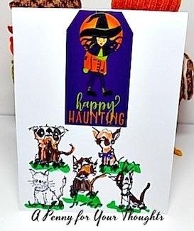 Happy Haunting Handmade Halloween Card . Ready to Ship.