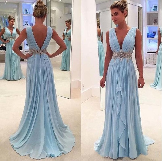 Sky Blue Prom Dresses Deep V-neck Chiffon Flange Part Maxys Plus Size Long Prom