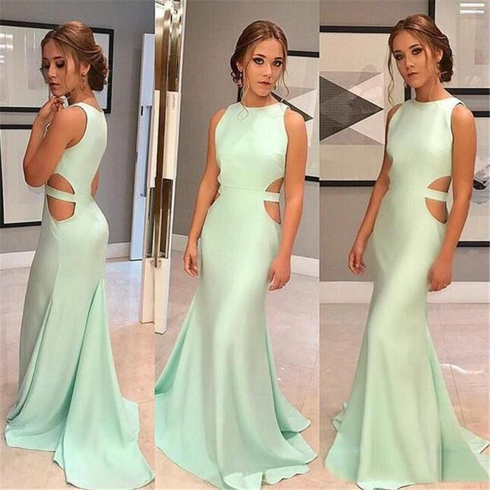 Mermaid Prom Dresses Jewel with Sweep Train and Zipper Back Formal Dresses