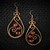Red Tiger Eye Copper Dangle Earrings, Wire Wrapped Woven Earrings (E113)