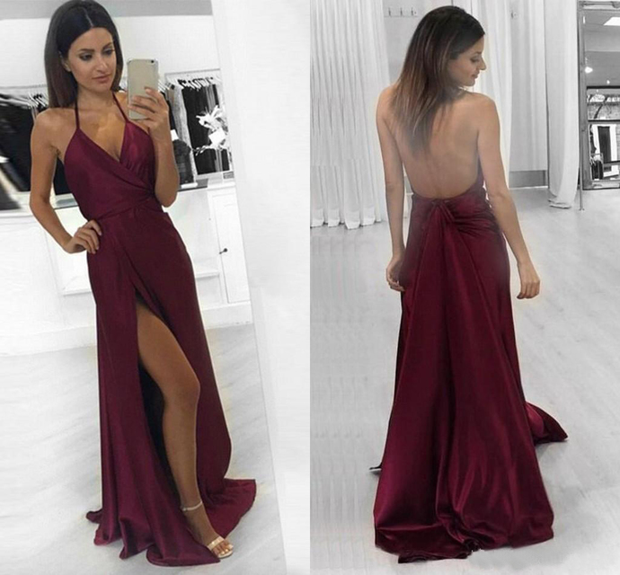 Sexy Style Burgundy Long Prom Dresses Backless Spaghetti Straps Front Split