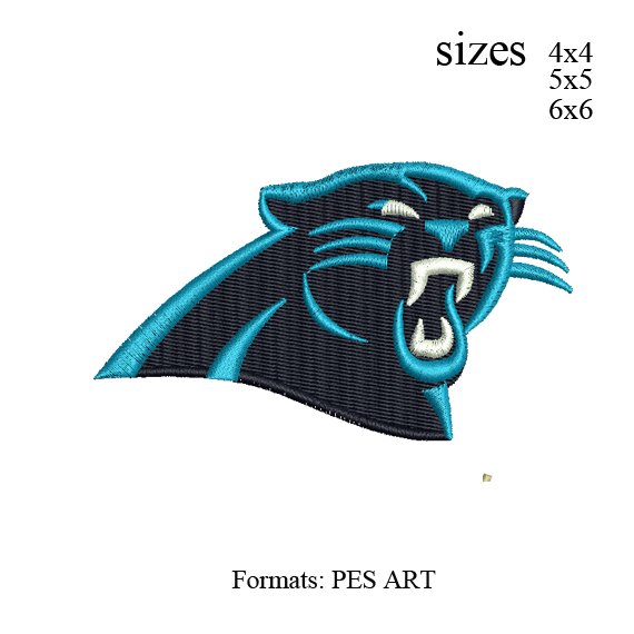 cutom embroidery design Panthers logo embroidery design - 3 sizes
