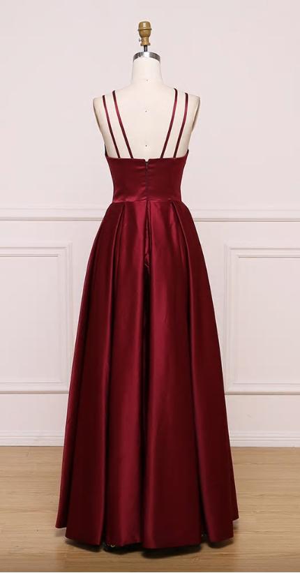 BeryLove Burgundy Evening Dresses Elegant Prom Dress 2019 Women Satin Formal