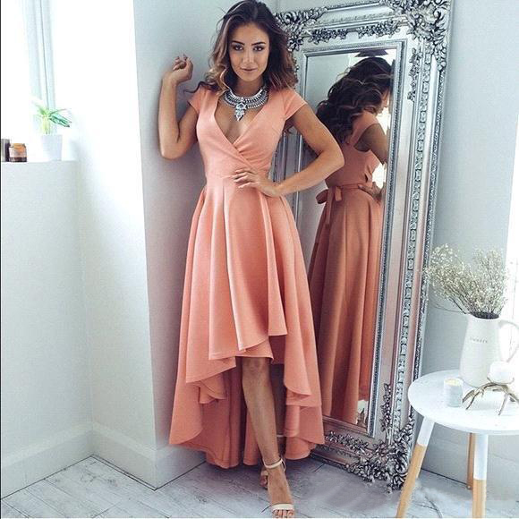 2019 Modern Sexy Deep V-neck High Low Long Prom Dresses Short Sleeves Formal