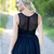 Navy Blue Short Bridesmaid Dresses Knee Length Tulle Lace Applique Jewel Neck
