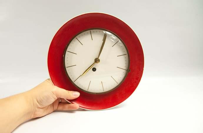 Mid Century Modern Clock, 1970s  Kitchen Clock, Ceramic Wall Clock, Unique Wall