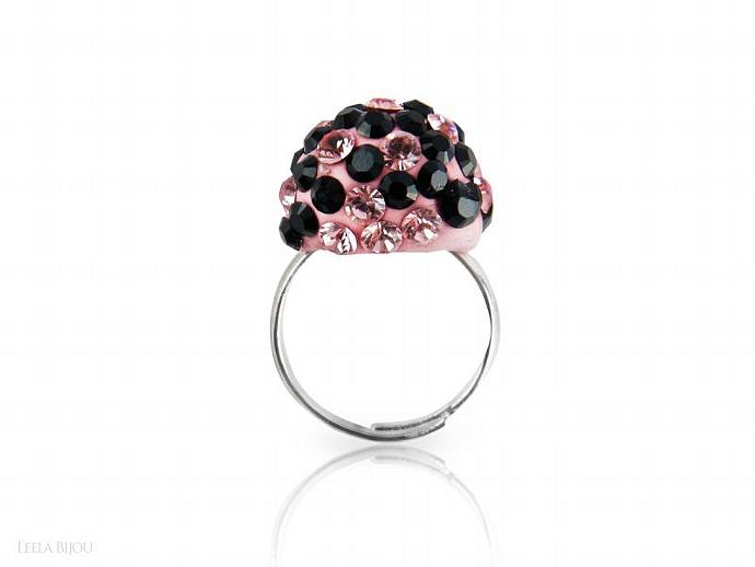 Pink Black Ring Swarovski Crystal Silver Plated