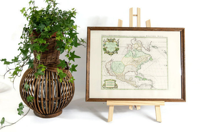 Framed map, map print, vintage print, vintage map, old map, map wall art, map
