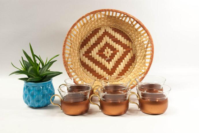 Mid century modern copper tea set, coffee cups set, glass cups, copper glass