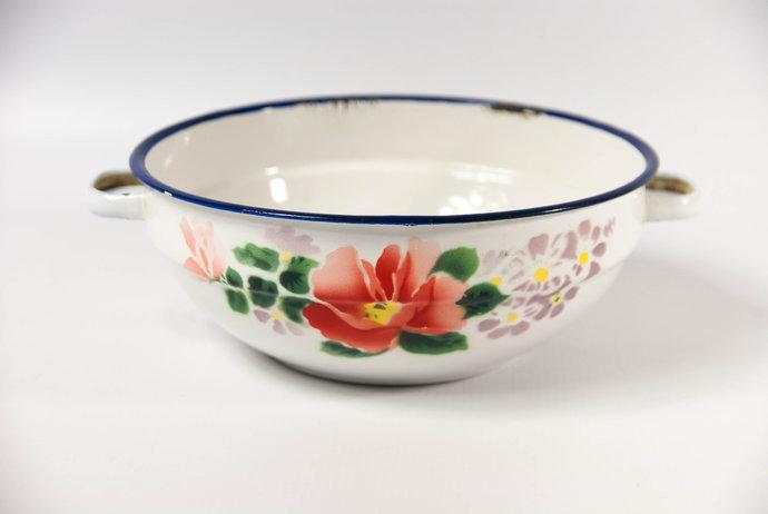 Enamel Bowl with Handles, Metal Mixing Bowl, Enamel Fruit Bowl, Enamelware Bowl,
