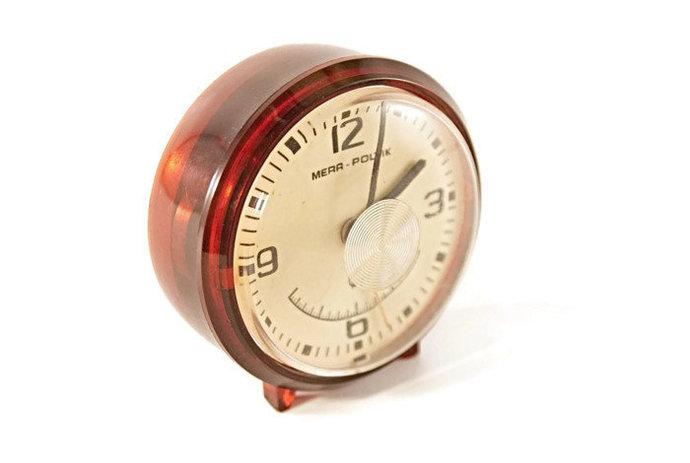 Vintage alarm clock, wind up alarm clock, small desk clock, mid century bedroom,