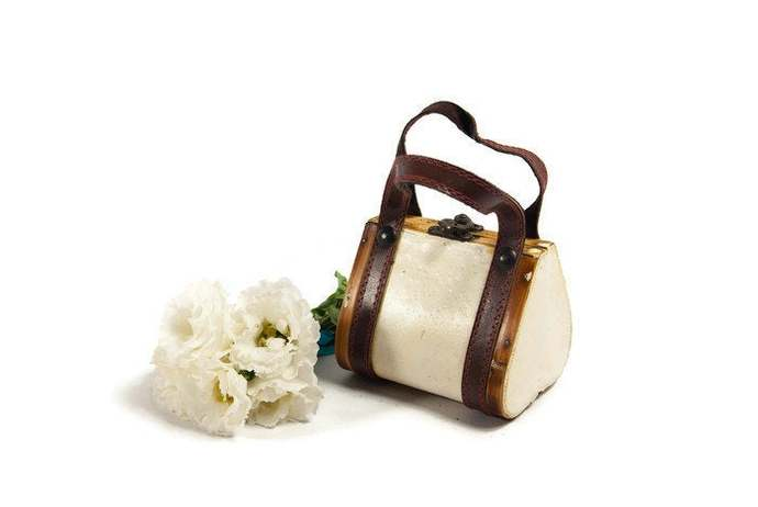 White purse, wooden purse, vintage purse, small handbag, wooden bag, made in