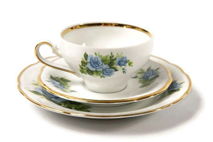 Breakfast trio set German porcelain, blue roses with gold trim, floral motif