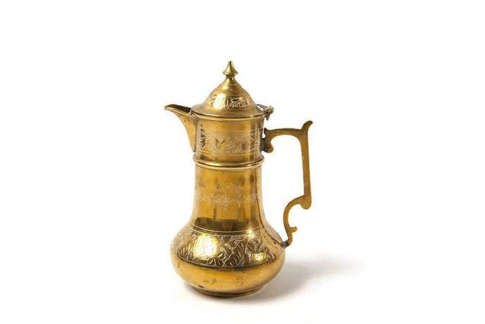 Brass teapot with lid, engraved, oriental home decoration perfect as a bohemian